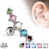 Cartilage/ Helix CZ 5 Gem Top Journey Curve Earring