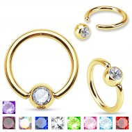 316L Steel Captive Bead Ring W/ IP Gold Press Fit Gems