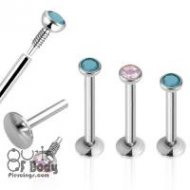 1.2mm Internally Threaded Labret Monroe W/ Press Fit Flat Opalit