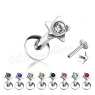 1.2mm Labret W/ Gem Set Star Top Internally Threaded
