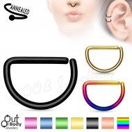 Hoop Nose Ring D Shape Bendable W/ Titanium Anodised Colours