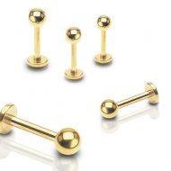316L Steel W/ Ion Plated Gold Ball Labret/ Monroe