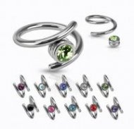 316L Surgical Steel Twist Grip Ring With CZ Gem Ball/ Mixed Size
