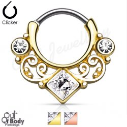 Septum Clicker Round Hinged Lace Swirl W/ Square Gem Gold IP