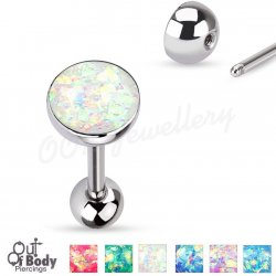 316L Steel Opal Sparkle Set Dome Tongue Barbell