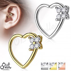 Ear Cartilage Daith Heart Hoop Ring W/ 4 Square Set CZ