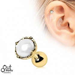 Cartilage/ Tragus Barbell W/ Crown Pearl Earring In Gold Plate