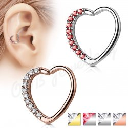 Ear Cartilage Daith Heart Hoop Ring One Side Lined W/ CZ