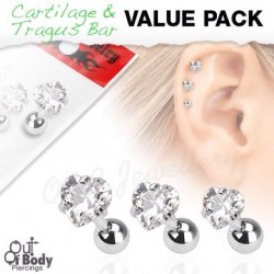 Cartilage/ Tragus Claw Set Clear CZ Heart Gem Triple Value Pack