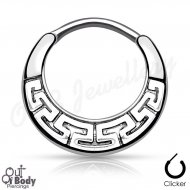 Septum Clicker Round Hinged Tribal Maze Design Nose Ring