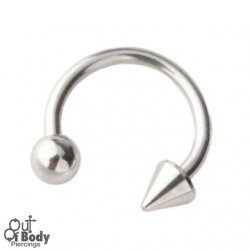 316L Steel Horseshoe/ Circular Barbell W/ Cone and Ball