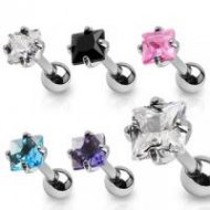 Cartilage/ Tragus Claw Set Diamond CZ Gem Top 316L Steel Barbell