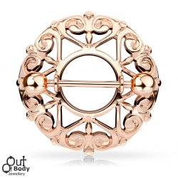 Filigree Tribal Hearts W/ Star Center Nipple Ring Rose Gold IP
