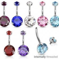 8mm Prong Set CZ Internally Threaded Belly Ring In 316L Steel
