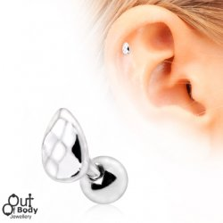 Cartilage/ Tragus Barbell W/ Faceted Teardrop Earring