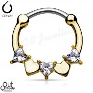 Septum Clicker Round Hinged CZ Heart Gold IP Nose Ring
