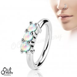 Hoop Nose Ring Bendable W/ 3 White Fire Opals 316L Steel
