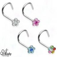 18G/ 20G 316L Surgical Steel Multi Gem Flower Nose Screw