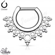 Septum Clicker Daith Hinged Lacey Circles Nose Ring
