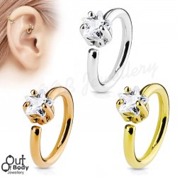 Ear Cartilage Bendable Hoop Ring With Prong Set Star CZ