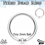 Septum Cartilage/Ear Bendable CBR Ring W/ Fixed Micro 2mm Ball