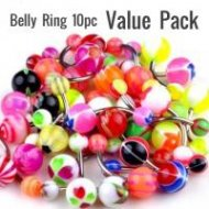 Colourful Acrylic Belly Rings Mixed 10pc Value Pack