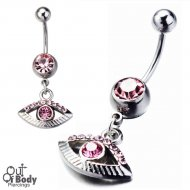 Pink Crystal Evil Eye Lucky Amulet Belly Ring