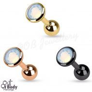 Cartilage/ Tragus Flat Top Disc Opalite Barbell W/ IP Colours