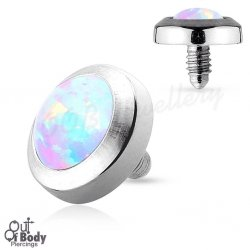 Dome Opal Stone Dermal Top In 316L Surgical Steel W/ Flat Base