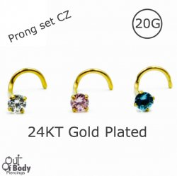 20G Nose Screw 24KT Gold Plated W/ Prong Set CZ Gem
