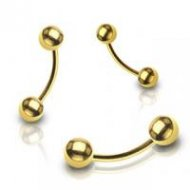 316L Steel Curved Eyebrow Barbell In IP Gold W/ Balls