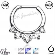 Septum Clicker Daith Princess Drop Pronged CZ Nose Ring