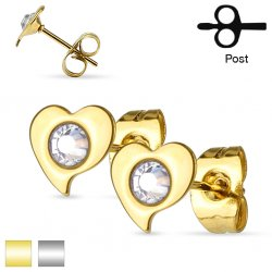 316L Surgical Steel Pair Of Crystal Set Heart Ear Studs