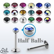 316L Steel Labret Monroe With 3mm Bezel Set Half Jewell Ball