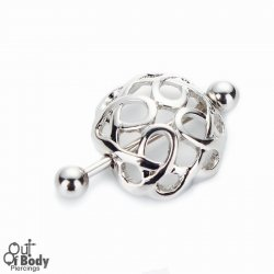 316L Steel Barbell W/ Tribal Swirl Nipple Cup Shield