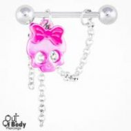 Pink Skull W/ Crystal Eyes And Looped Chains Nipple Ring