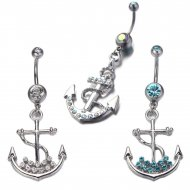 Crystal Paved Dangling Anchor Belly Ring