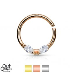 Septum Cartilage/Ear Bendable Hoop Ring W/ Prong Marquis CZ