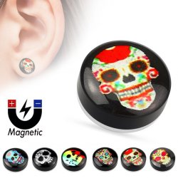 Fake Plug Magnetic Cheater W/ Epoxy Dome Top Skull Logo