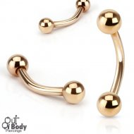 316L Steel Curved Eyebrow Barbell In IP Rose Gold W/ Balls