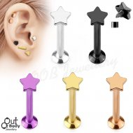 Ear Labret Stud W/ Flat Star Top Threaded In IP Titanium Colours