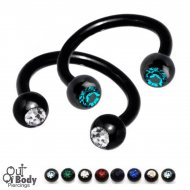 316L Steel Horseshoe Circular Barbell W/ Gem Ball Black Titanium