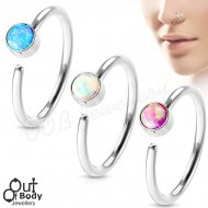 Hoop Nose Ring Opal Set 316L Surgical Steel