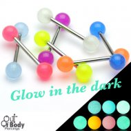 316L Steel Straight Barbell With Glow In Dark Balls Mix Size