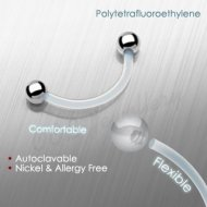 Eyebrow PTFE Flex Retainer W/ 316L S. Steel Ball Ends