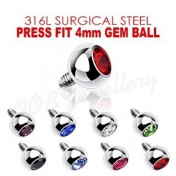 Press Fit Round Coloured Gem Dermal Top 316L Surgical Steel