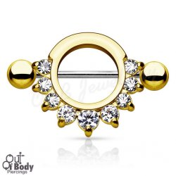 316L Steel Half Circle W/ Prong Gems Nipple Shield In IP Gold