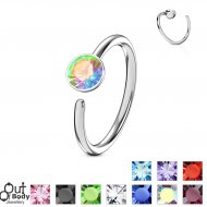 Hoop Nose Ring W/ Colourful Gem Ball End