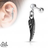Cartilage/ Helix Barbell W/ Angel Wing Dangle And Jewelled Ball