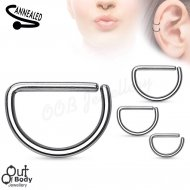 Cartilage Ear/ Septum D Shape/ Hoop Huggie Ring 316L Steel